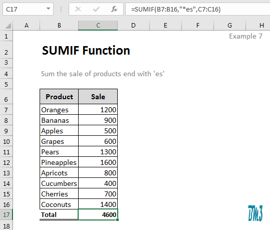 Excel formula: SUMIF function