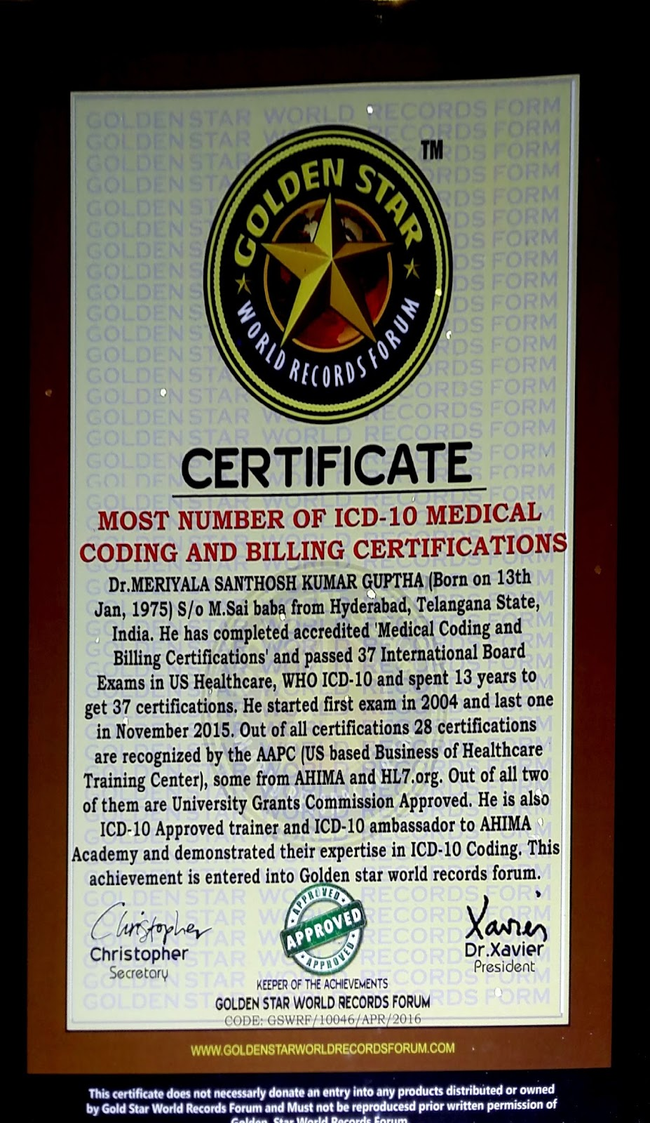 World Record In Medical Coding Dr Guptha Medesun Medical Coding