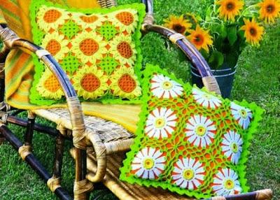 Cojines Crochet Girasoles y Margaritas Patron