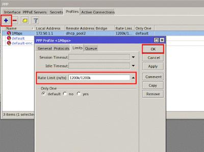 Menentukan limitasi untuk profile pppoe