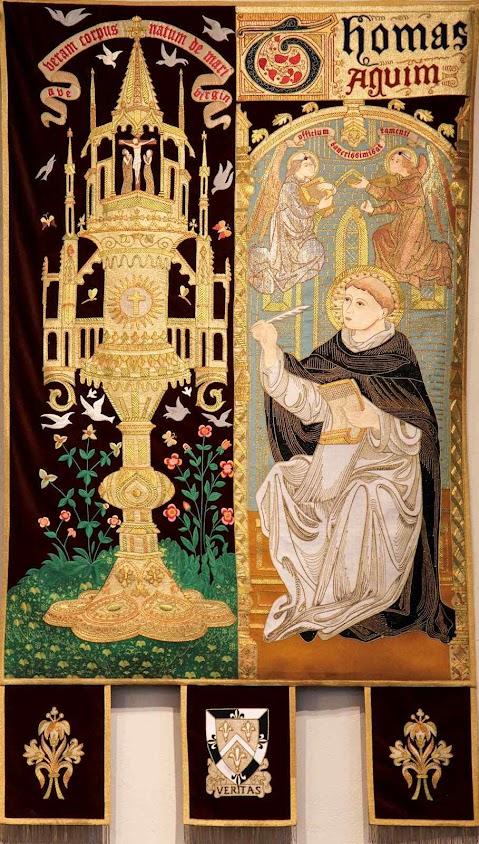Santo Tomás de Aquino compõe os hinos do ofício de Corpus Christi. Bandeira bordada, Santa Rosa, Springfield, EUA.