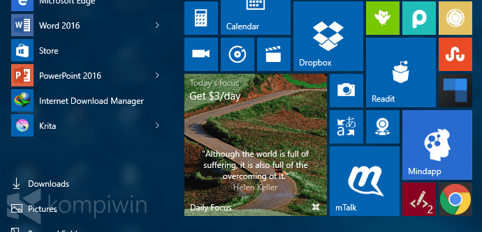 daily focus app live tile