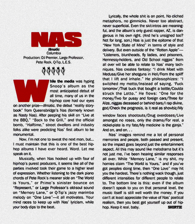 "Nas 5-mic review in The Source ""Hip-Hop Nostalgia"""