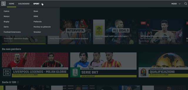 dazn-interfaccia