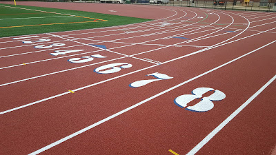 new lane lines painted on the track that was redone recently at FHS