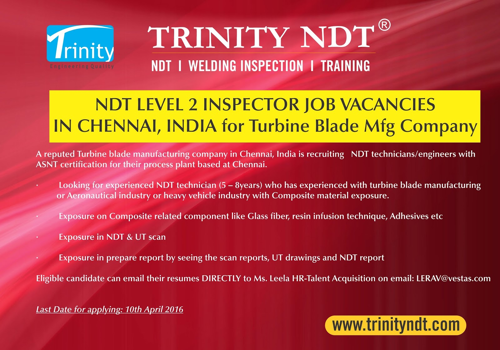 Nabl ndt labs ndt welding inspection training chennai mumbai ndt level ii technician job vacancies in chennai india for a reputed turbine blade mfg company xflitez Images