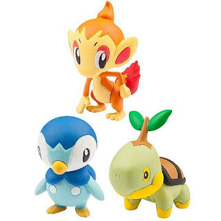 Takara Tomy figure Monster Collection 20th Anniversary Starter Set  Vol 4 Turtwig, Chimchar, Piplup