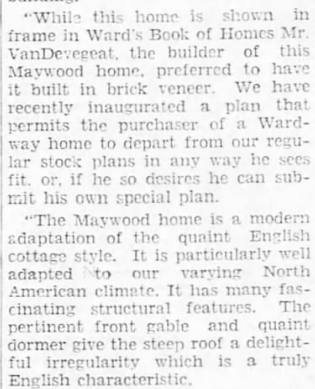 Battle Creek Enquirer 1930 Aug 21, newspaper article about custom Wardway home used as model home by Wardway, owned by P. L. VanDevegea