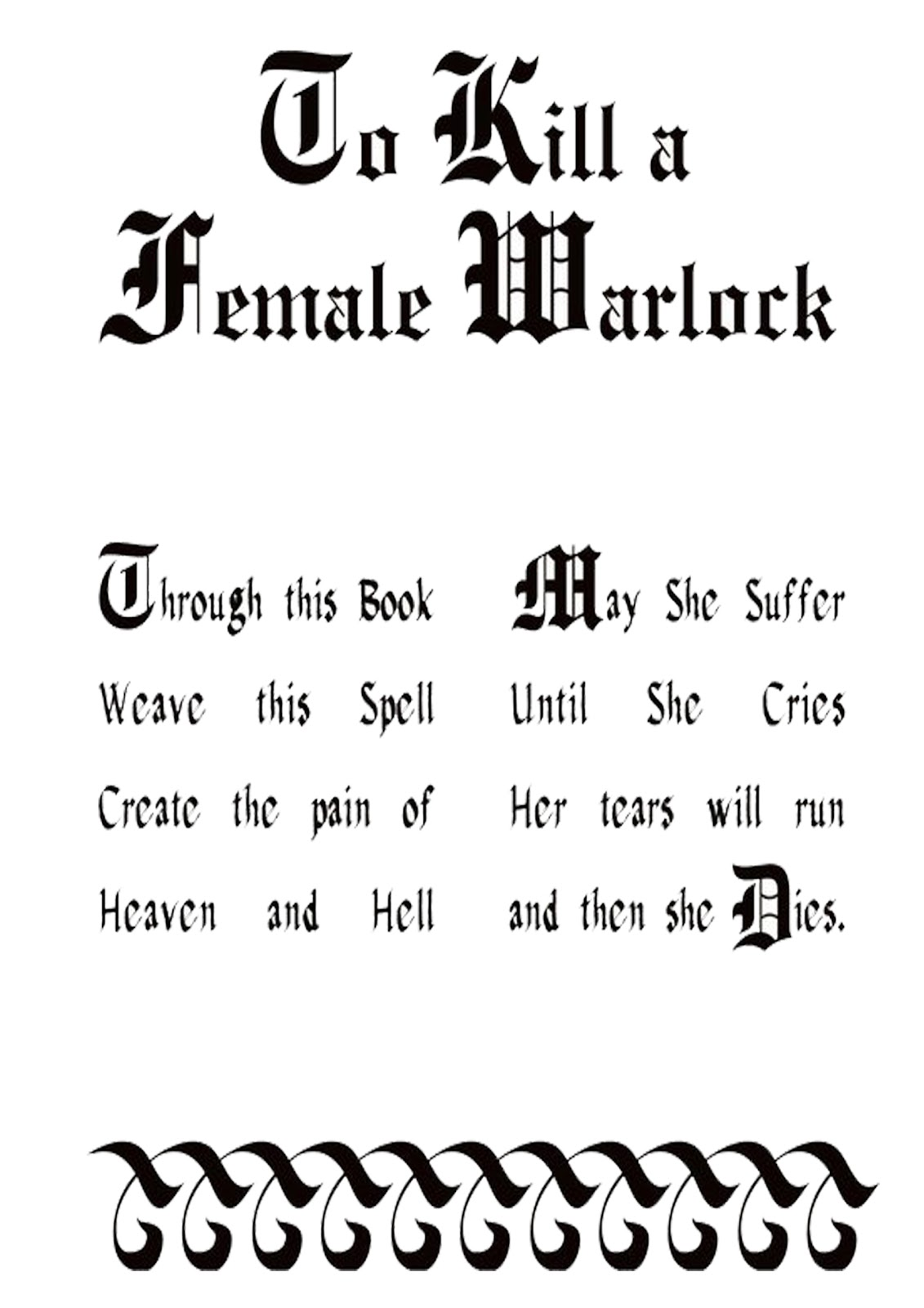 Book Of Shadows Pages: Kill A Female Warlock