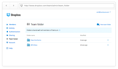 What is a dropbox team account
