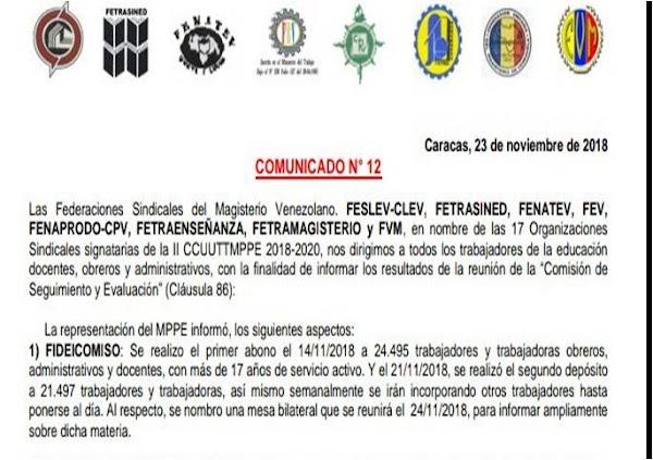 Comunicado 12:La representación del MPPE informó, los siguientes aspectos: FIDEICOMISO, JUBILACIONES Y TABULADOR