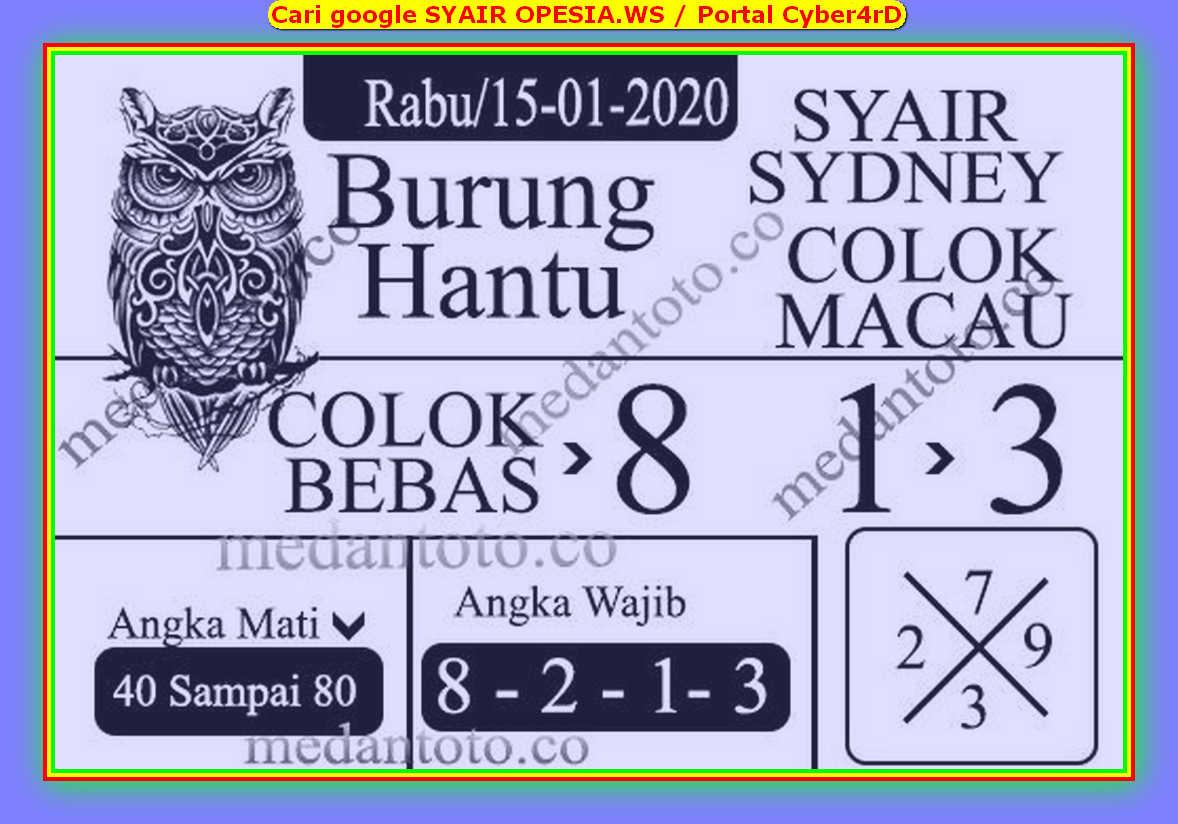 Kode syair Sydney Rabu 15 Januari 2020 111