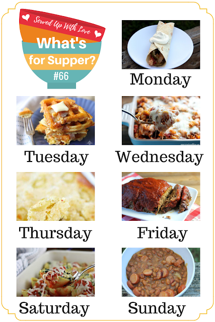 What's for Supper Sunday meal plan recipes include Ham & Cheese Waffles, Pizza Casserole, Cornbread Chicken Casserole, Meatloaf, Stuffed Shells, and more.