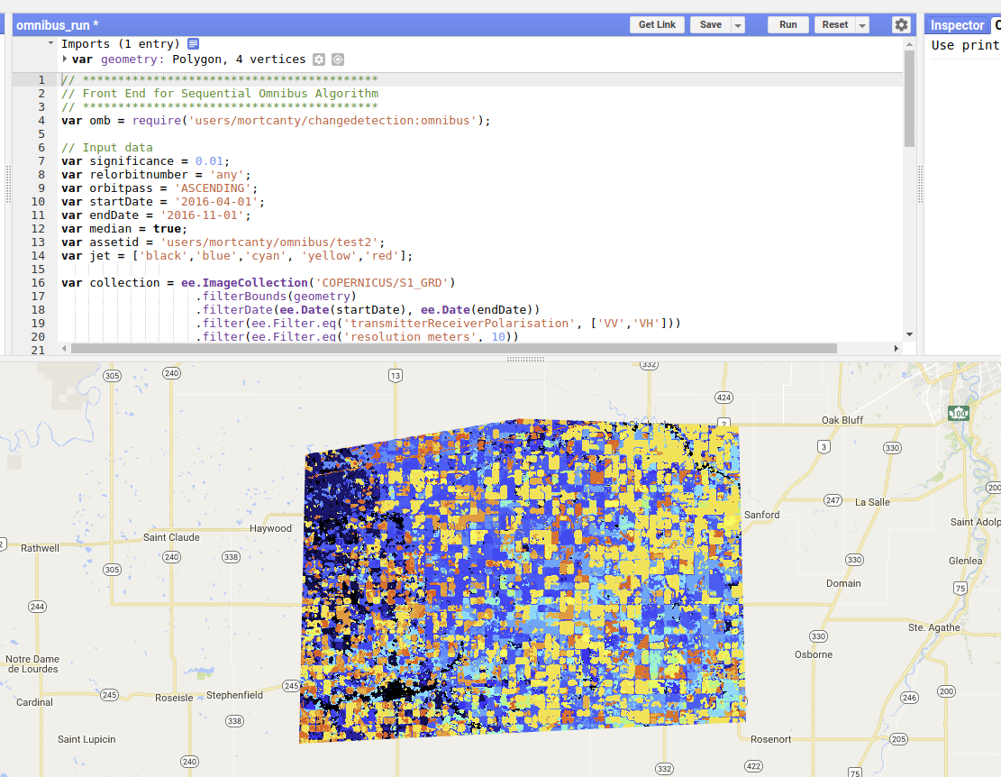 Fun with Python: IR-MAD Change Detection in the Google Earth
