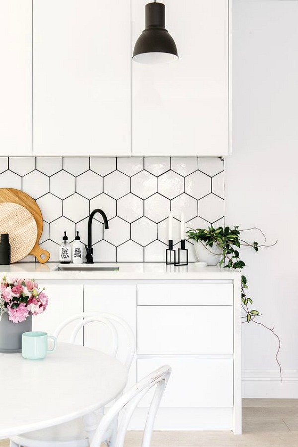 how these hexagon tiles add intrigue to these rooms a bit more so than the standard rectangular or square tile does have a look for yourself below