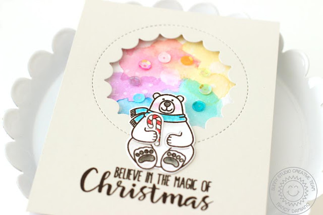 Sunny Studio Stamps: Playful Polar Bears Rainbow Background Christmas Card by Nancy Damiano