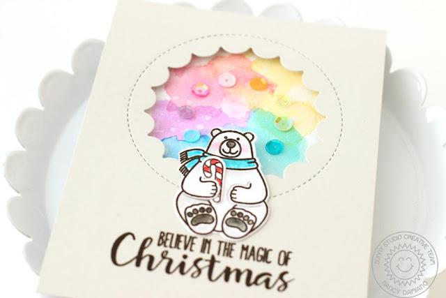 Sunny Studio Stamps: Playful Polar Bears Rainbow Background Christmas Card by Nancy Damiano