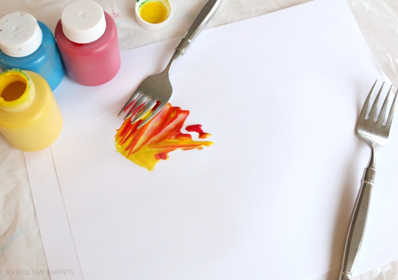 color mixing truffula tree fork painting