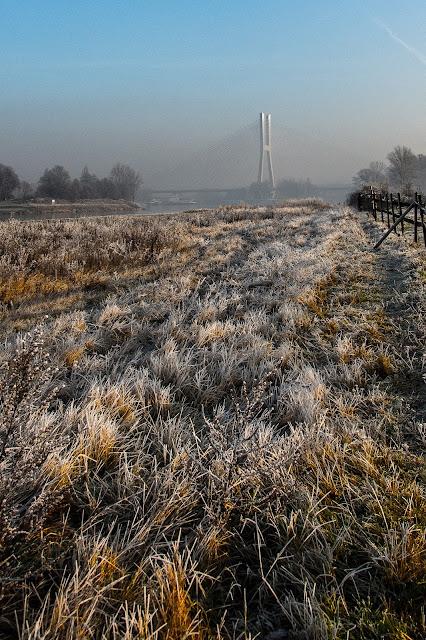 Most Rędziński zimą - rozlewiska Odry