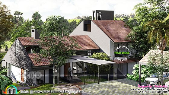 4 bedroom sloped roof bungalow architecture rendering