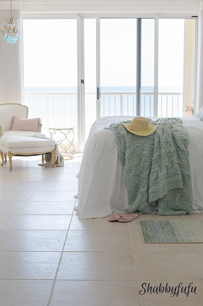 beach house with aqua bedroom
