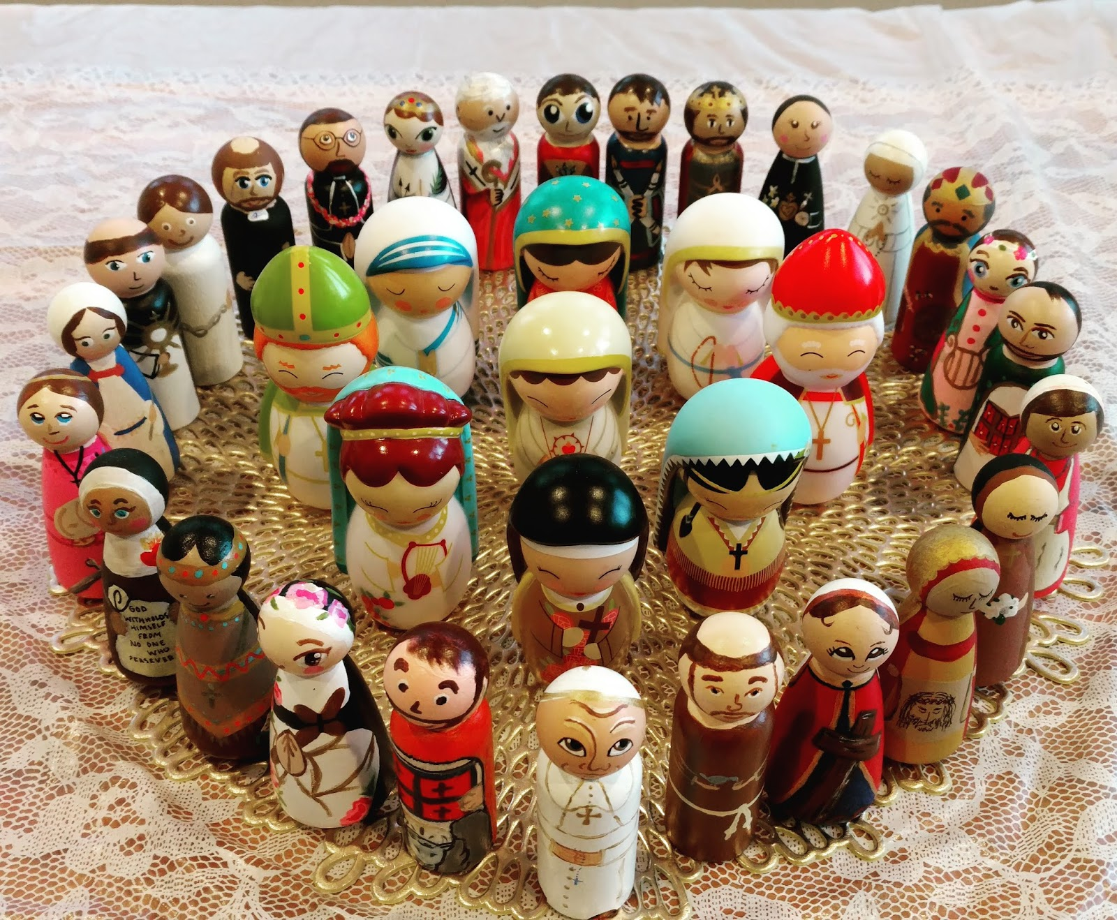 ... All The Peg Dolls That I Received A Few Years Ago At A Saint Peg Doll  Exchange And The Various Shining Light Dolls We Have Collected Through The  Years.