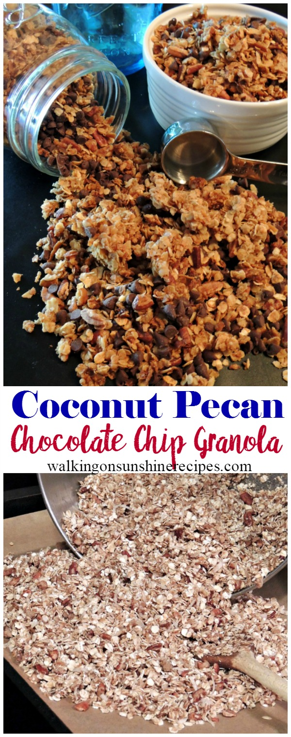 Chocolate Chip Granola Recipe with Coconut and Pecans