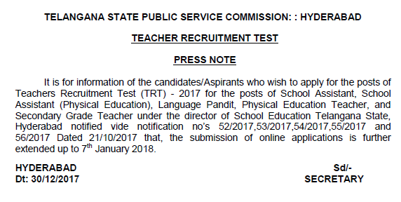 The   submission  of TRT  online  applications  is  further extended up to 7th January 2018