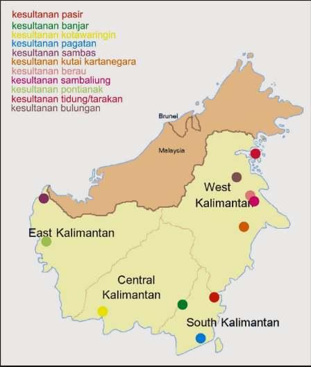 Peta Kerajaan Islam di Kalimantan
