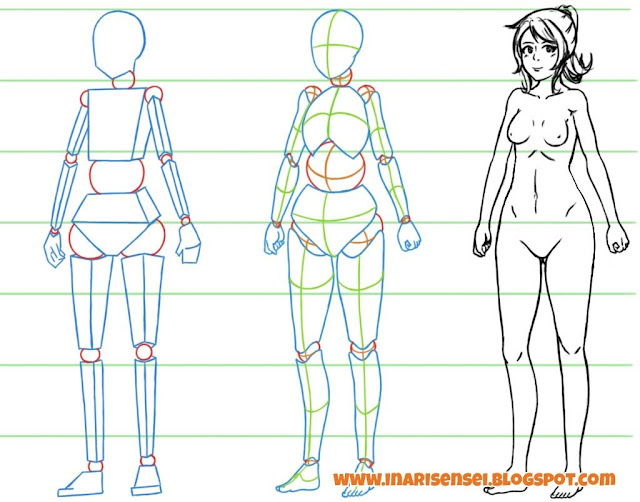 Dessiner un corps manga: un corps féminin vu de côté