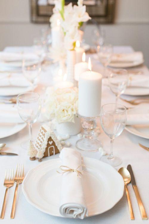 elegant white Christmas table decoration