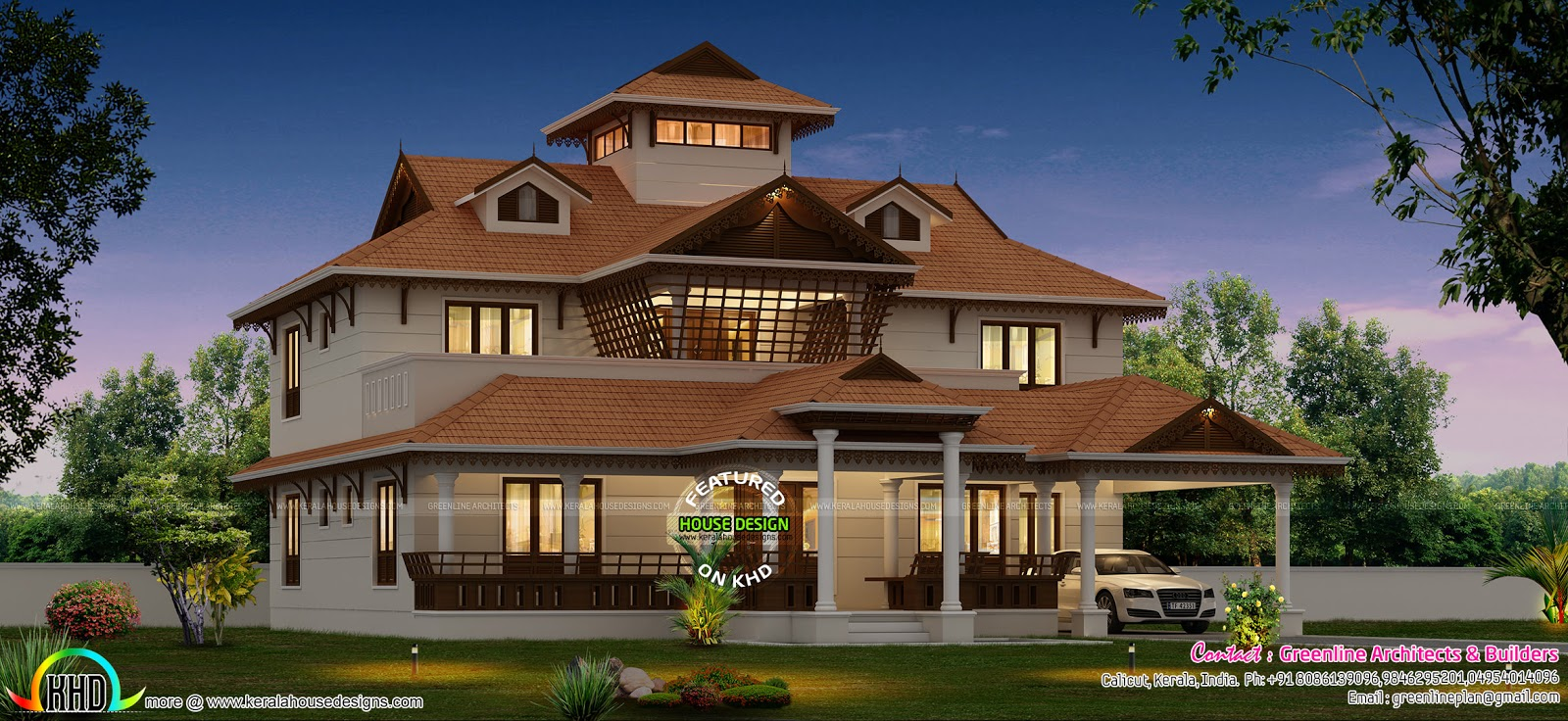 Stunning luxury home traditional style kerala home for Luxury traditional homes