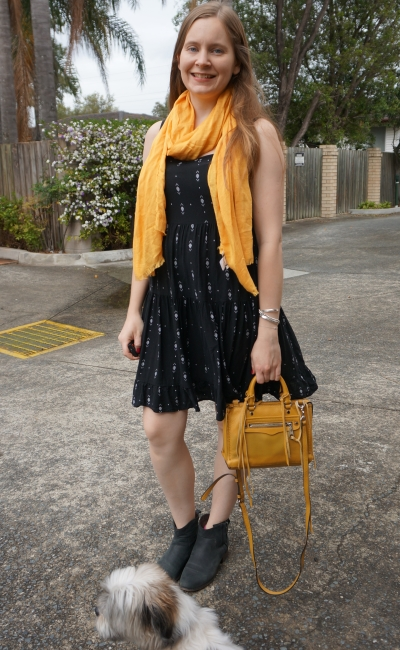 little black boho sundress in spring ankle boots mustard accessories scarf micro regan bag | awayfromblue