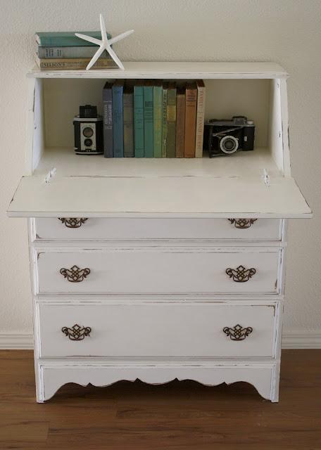 Painted Antique Secretary Desk