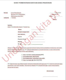 Contoh surat permohonan bantuan dana pendidikan - 2020