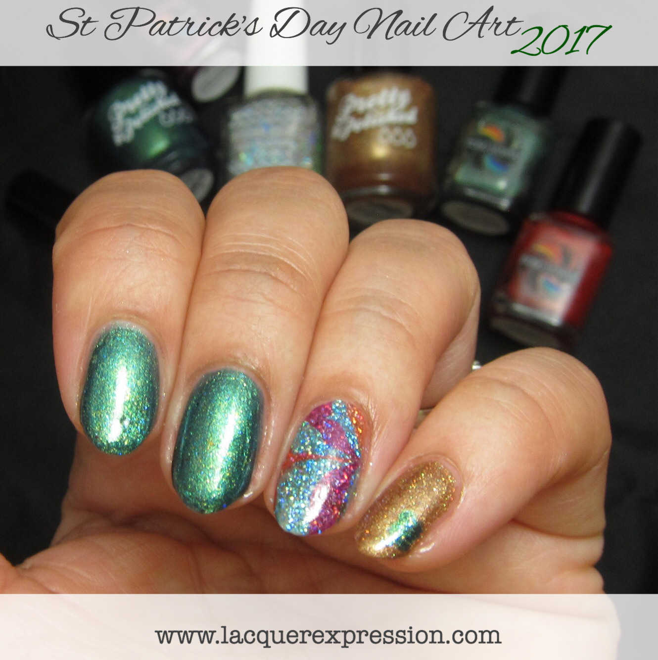 Step-by-Step Nail Art Thursday - Green, Gold, and Rainbow Nails for ...