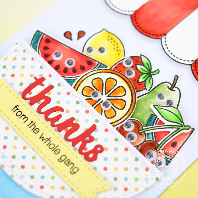 Sunny Studio Stamps: Fresh & Fruity Googly Eyed Fruit Bowl Thank You Card by Lexa Levana