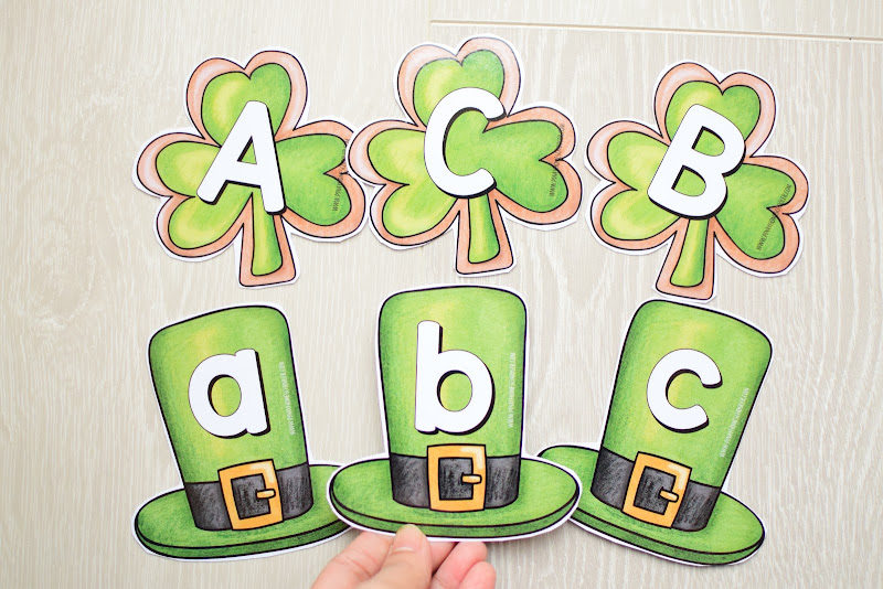 St. Patrick's Day MATCHING UPPERCASE AND LOWERCASE LETTERS