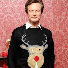 actor Colin Firth in Christmas jumper from Bridget Jones film
