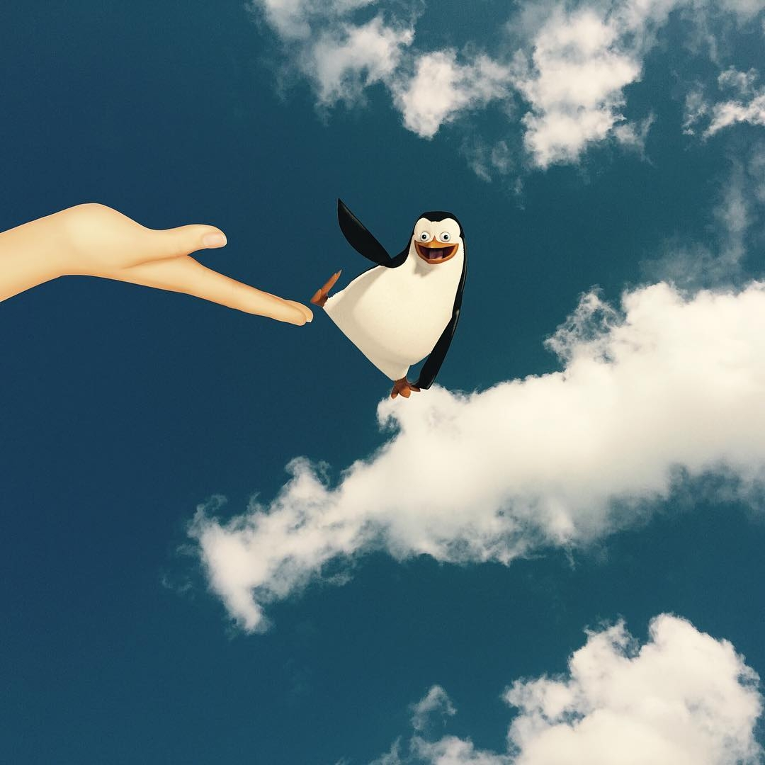 05-Dancing-Penguin-Mary-from-Mary-Poppins-Marcus-Einspannier-Surreal-Digital-Photo-Manipulation-using-Clouds-www-designstack-co