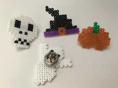 Halloween pin badges with mini Hama beads