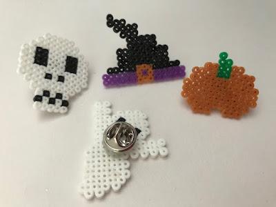 Halloween pin badges with mini Hama beads