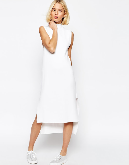 adpt white high neck dress, white high neck midi dress, adpt dress,