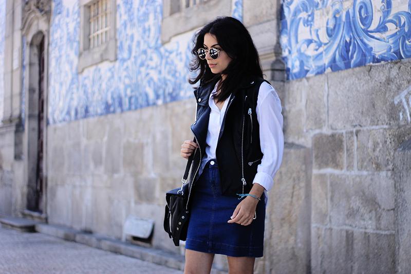 Leather Vest & Denim Skirt