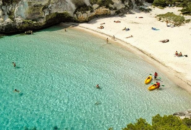 #6. Cala Macarelleta, Menorca is located on one of the five islands of the Balearic Islands. It can only be reached by boat or foot and is one of the least crowded beaches in Spain. - 12 Places To Swim With The Clearest, Bluest Waters. #2 Wow!