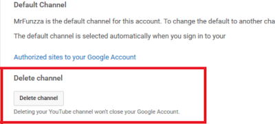 Delete Youtube Channel...