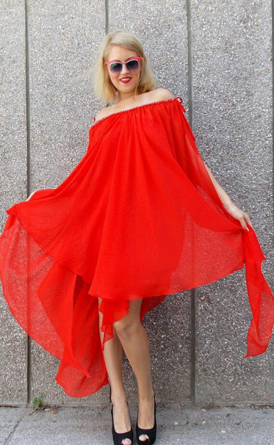 Plus size Red off shoulder maxi Dress