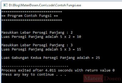 Contoh program dengan fungsi dalam Bahasa C++
