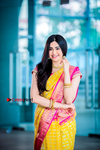 Actress Adah Sharma Exclusive Poshoot in Beautiful Yellow Silk Saree at Saree Niketan Showroom Launch  0001.jpg
