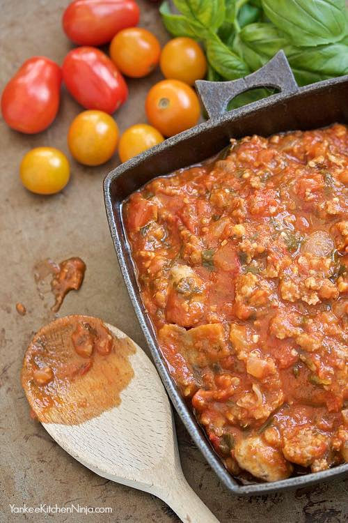 easy recipe for tomato and sausage with mushrooms and herbs